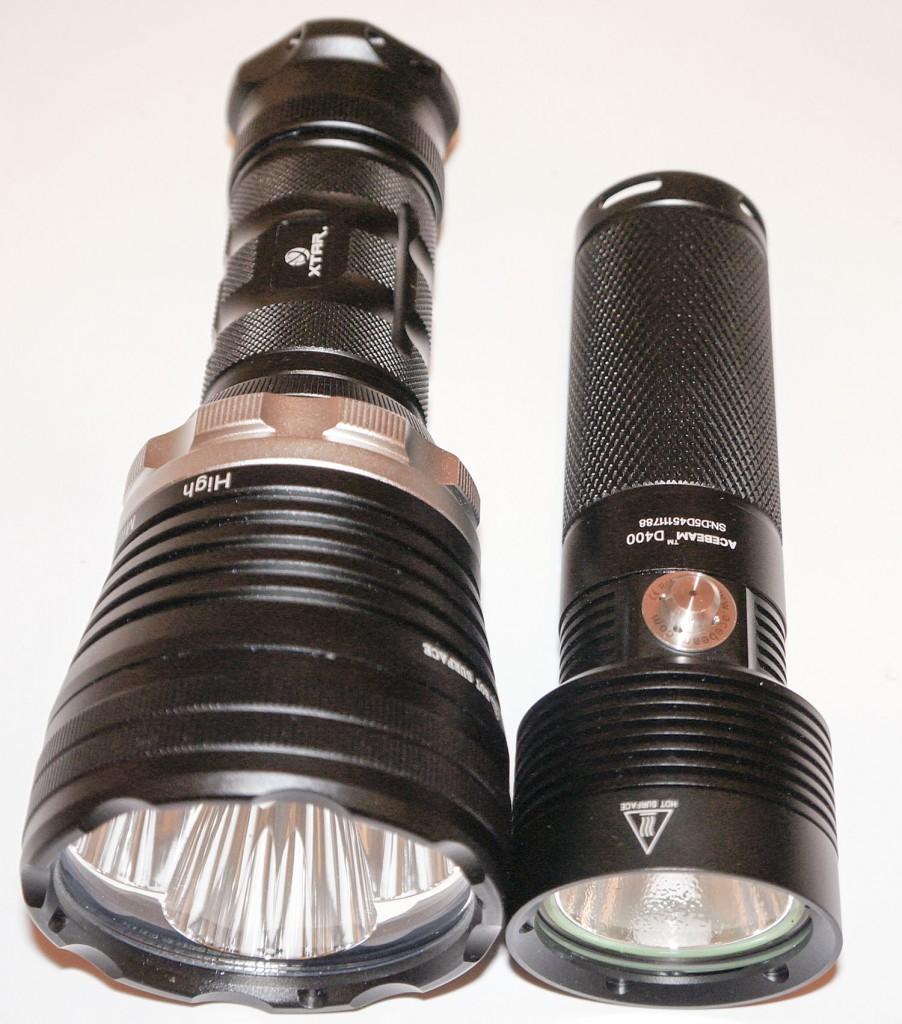 Сравнение габаритов подводных фонарей Xtar и Acebeam D400