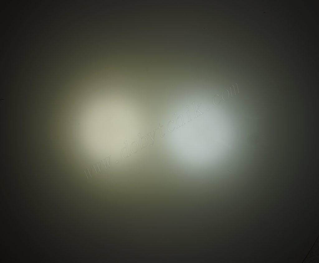 Сравнение света подводных фонарей Acebeam D400 и Acebeam D45