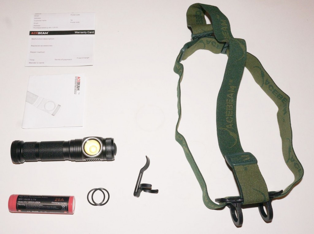 Комплект поставки налобного светодиодного фонаря Acebeam H10