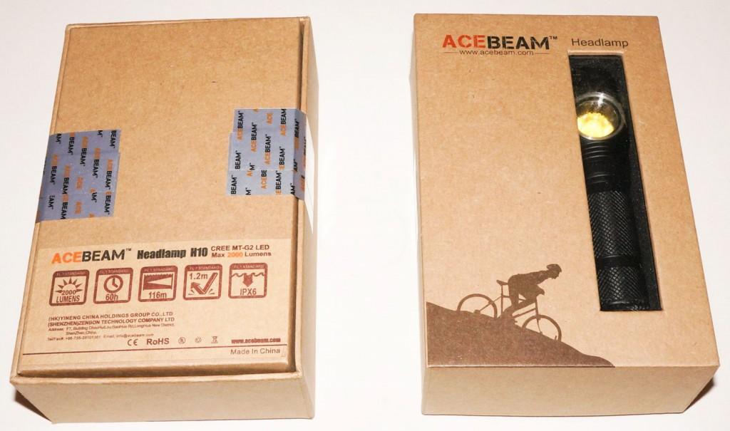 Картонная коробка с пластиковым окошком фонаря Acebeam H10
