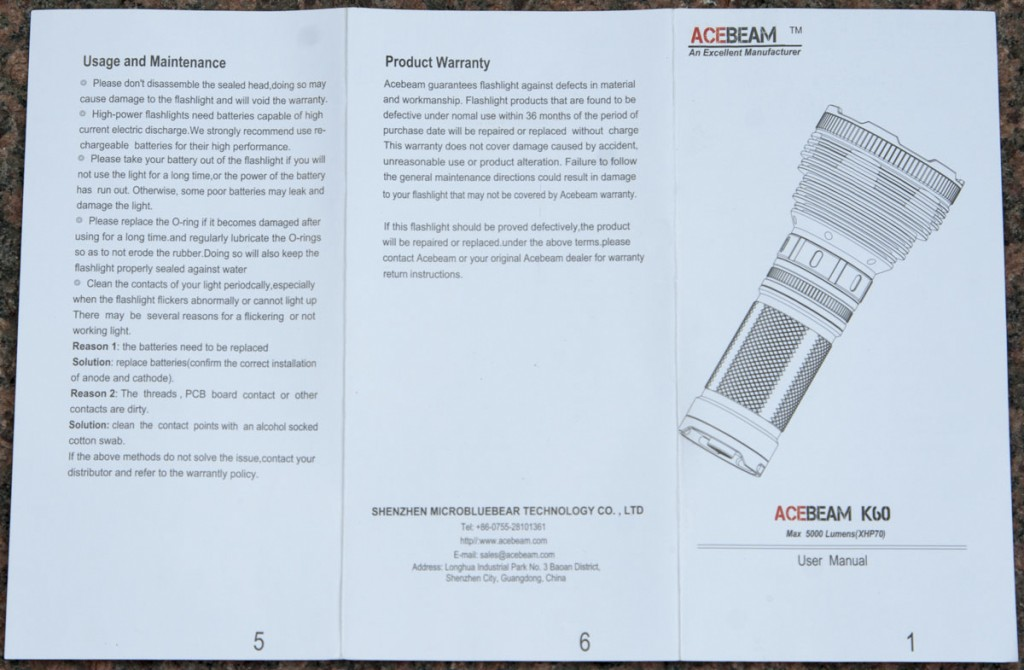 Подробная инструкция по эксплуатации поискового фонаря Acebeam K60