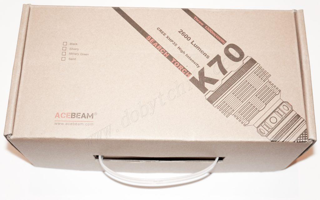Заводская коробка дальнобойного фонаря Acebeam K70