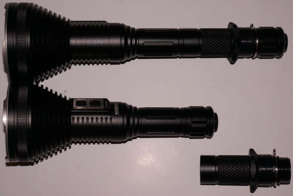 Корпус светодиодного фонаря Acebeam T20 разборный и может быть укорочен