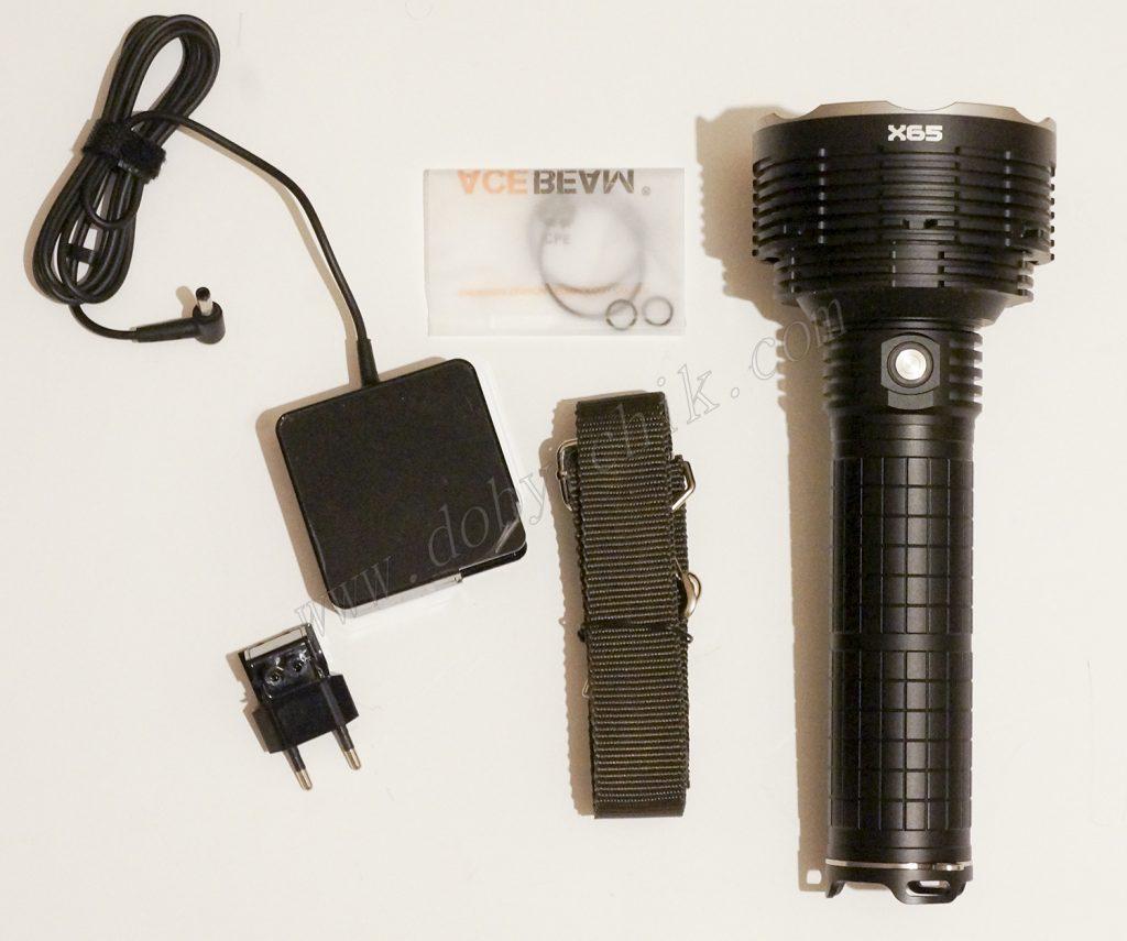 Комплектация поставки поискового фонаря повышенной мощности Acebeam X65