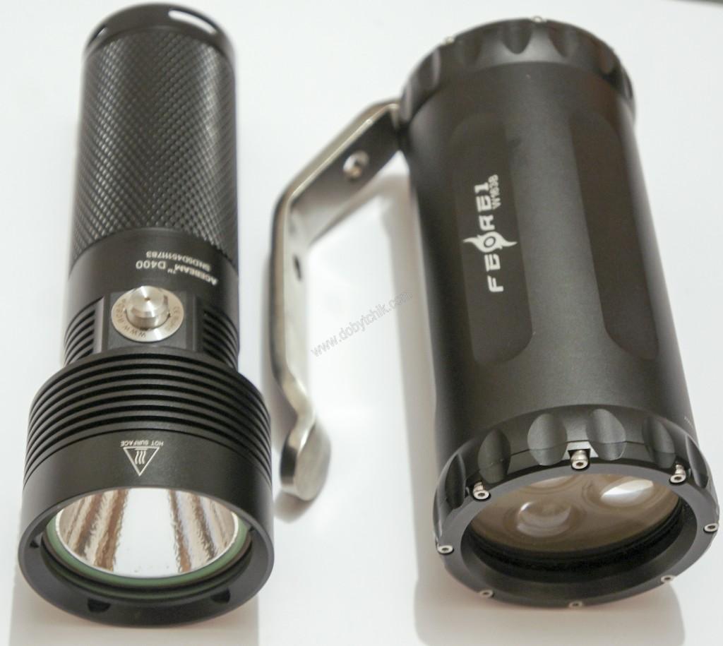 Сравнение физических размеров подводных фонарей Ferei W163B и Acebeam D400