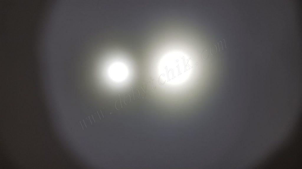 Сравнение света фонаря Nitecore TM16GT и Acebeam K60