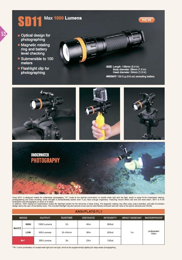 Подводный фонарь для фото и видео съемки Fenix SD11