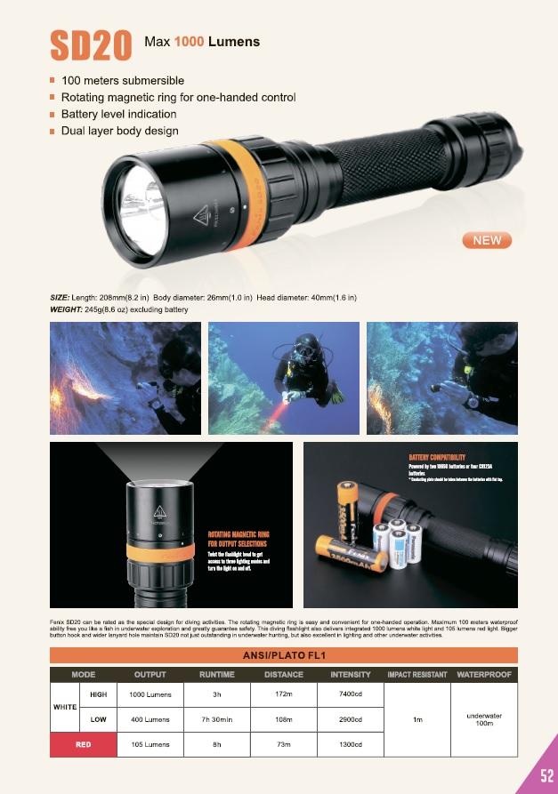 Фонарь для дайвинга и подводной охоты Fenix SD20