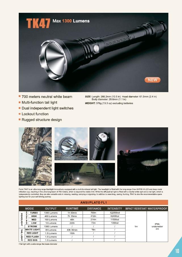 Новый поисковый фонарь Fenix TK47