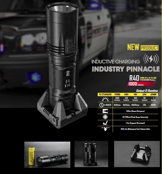 Перезаряжаемый фонарь Nitecore R40 с индукционной зарядкой
