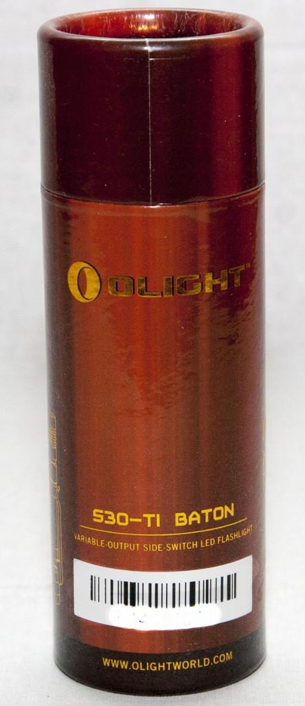 Упаковка фонаря Olight S30Ti Baton в виде тубы из картона