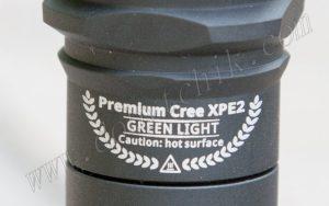 Маркировка на корпусе светодиодного фонаря с зеленым диодом