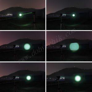 Свет линзового зеленого фонаря при разной фокусировке