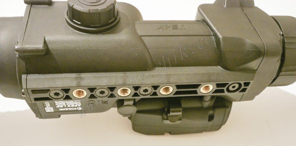 Место крепления кронштейна для установки на оружие тепловизорного прицела Pulsar Apex LRF XD75