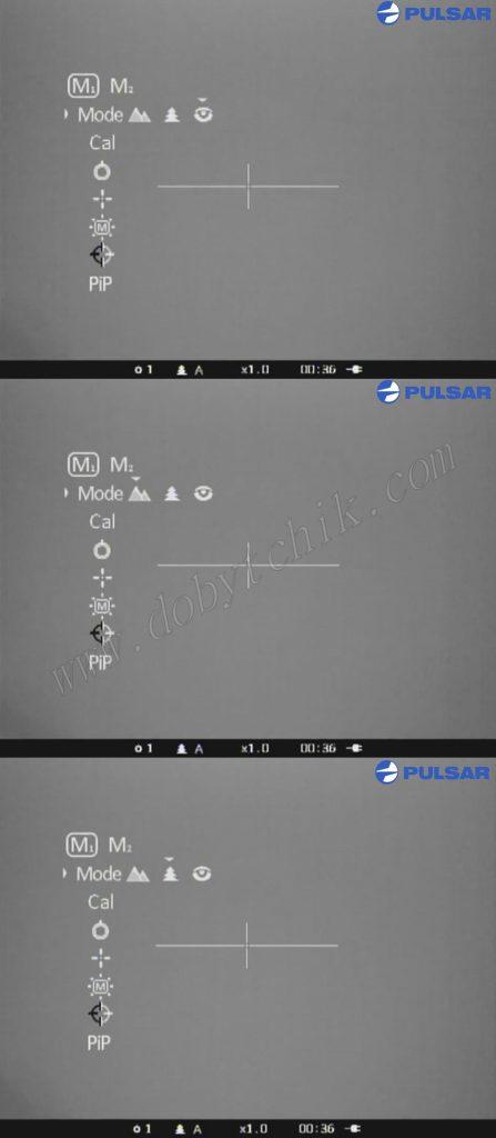 Меню режимов работы тепловизионного прицела с встроенным дальномером Pulsar Apex LRF XD75
