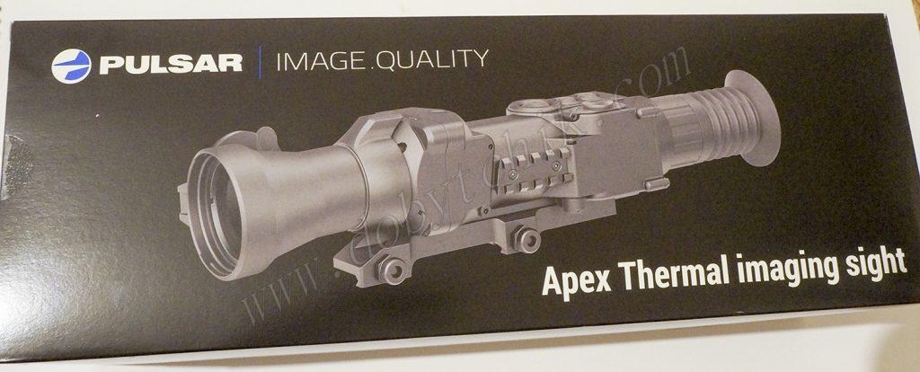 Картонная упаковка тепловизионного прицела с встроенным лазерным дальномером Pulsar Apex LRF XD75