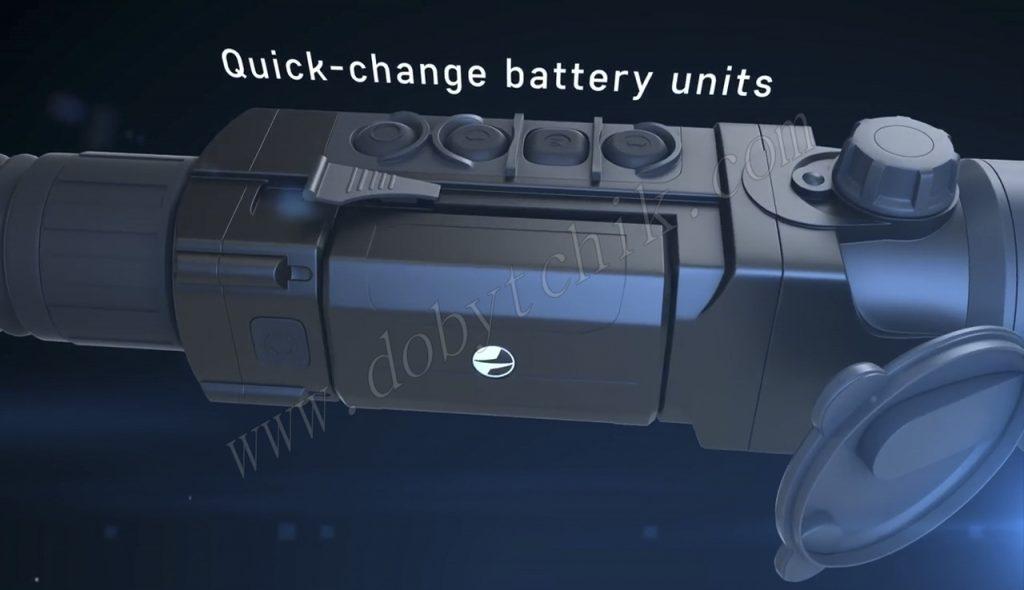 Аккумуляторный блок тепловизионного прицела Pulsar Trail можно мгновенно заменить