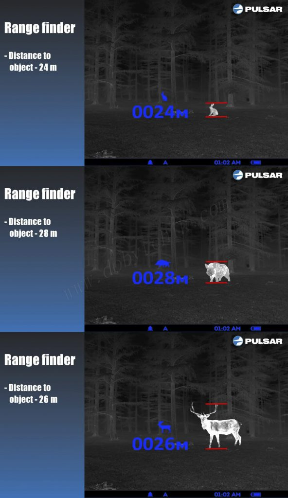 Встроенный стадиометрический дальномер тепловизора Pulsar Quantum XQ50 позволяет определять расстояние до цели