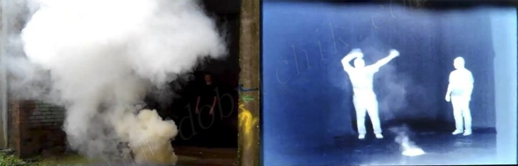 Обнаружение объекта наблюдения сквозь дым тепловизором Pulsar Quantum XQ38